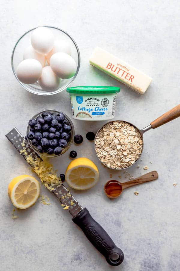Ingredients for Lemon Blueberry Cottage Cheese Pancakes.