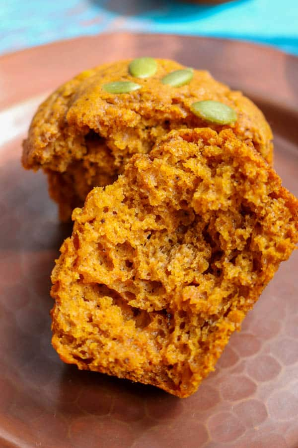 The inside of a Dairy-free Pumpkin Muffin.