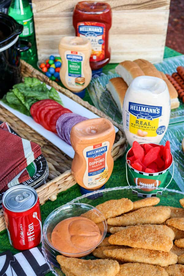 Hellmann's condiments perfect for a tailgate party.