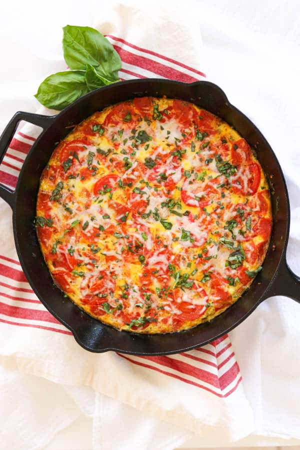 Meat Lover's Pizza Frittata in a skillet.