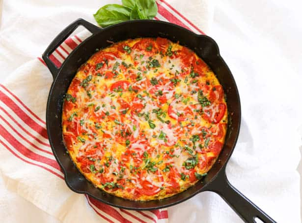 Meat Lover's Pizza Frittata in skillet.