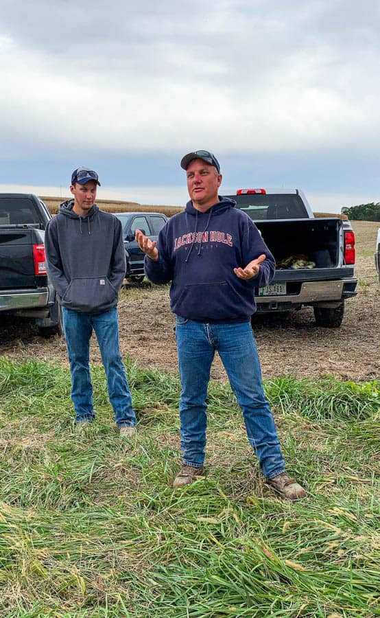 Farmer Steve Kuiper and his son on their corn farm in Iowa.