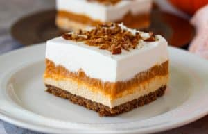 Layered No Bake Pumpkin Dream Bars.