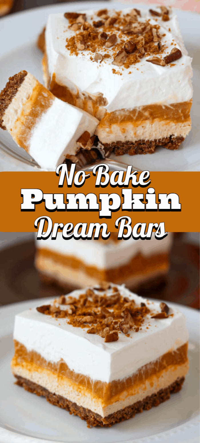These No Bake Pumpkin Dream Bars will be your new go-to Thanksgiving dessert. It's an easy layered dessert recipe with the flavors of Fall everyone loves.