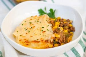 A bowl of Easy Shepherd's Pie Recipe.