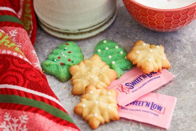 Spritz Cookies with Sweet'N Low packets