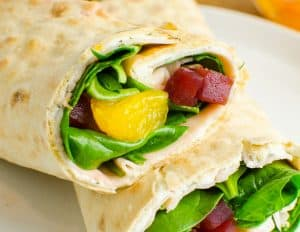 Beet, Turkey and Cheese Wrap