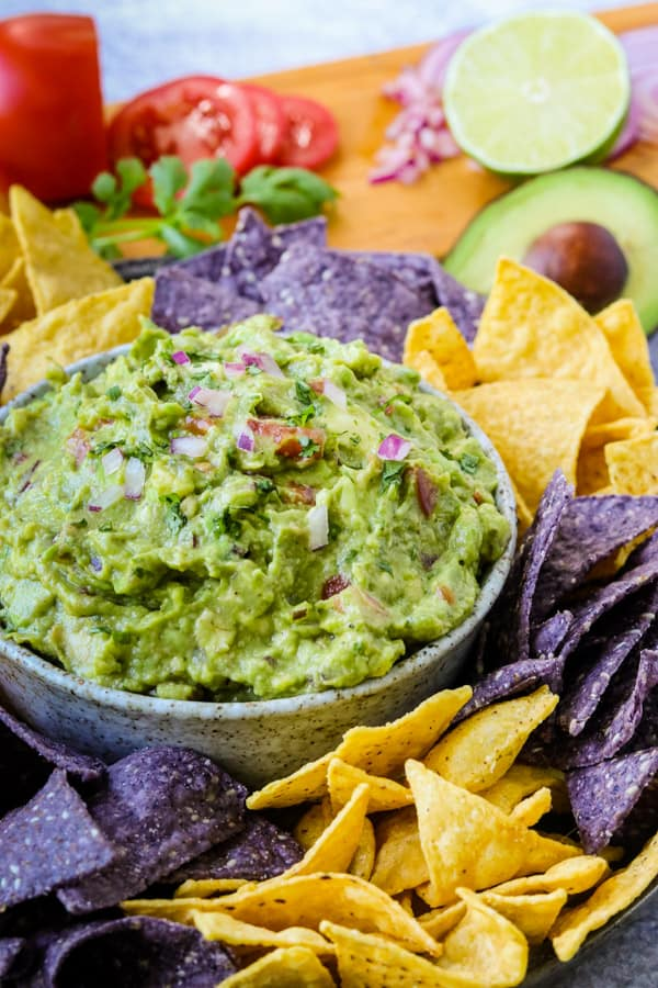 Guacamole in a serving bowl.