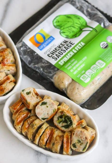 O Organics® Sausage Chicken Spinach & Feta.