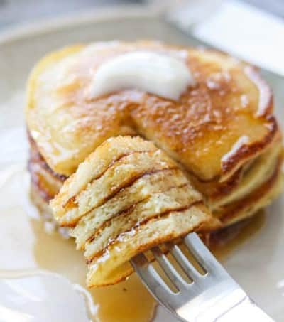 A forkful of pancakes.