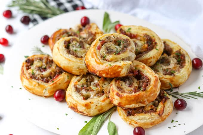 Holiday appetizers ready to be served.