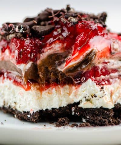 Layers of chocolate and strawberries in a no bake dessert.