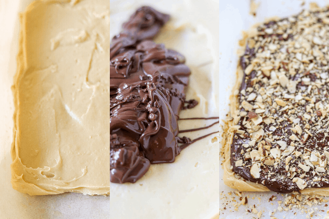 The three phases of making the toffee.