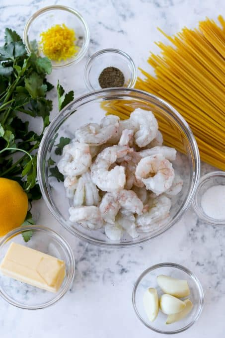 Ingredients for Shrimp Pasta.