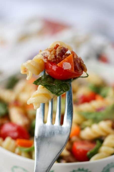 Ranch BLT Pasta Salad on a fork.