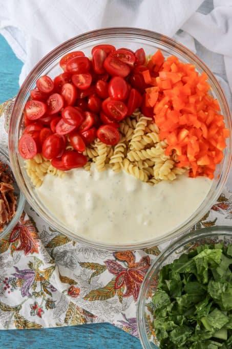 Pasta salad ingredients.