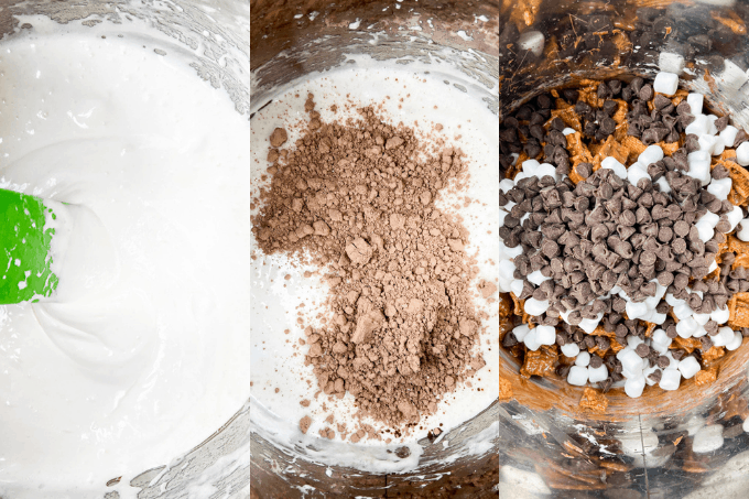 Process for making S'Mores cookies.