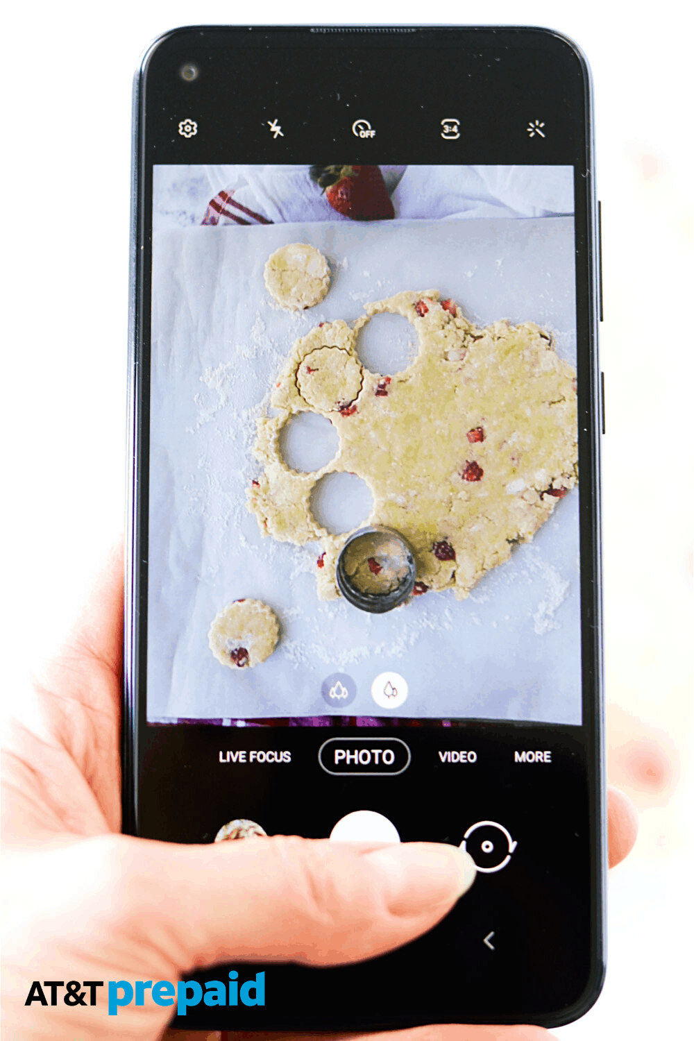 Picture of scones in the making on my AT&T Prepaid Samsung.