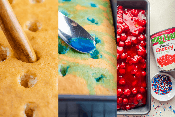 The process of making a Patriotic Poke Cake.