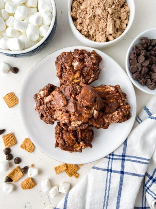 A plate of no bake chocolate cookies.