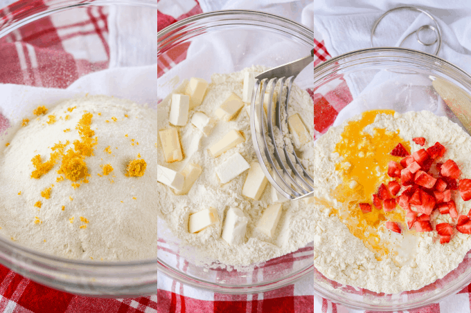 Process collage of making scones.