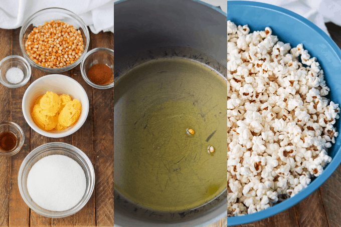 Steps to making popcorn with cinnamon and sugar.