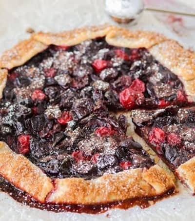 An easy galette made with cherries and dark chocolate chunks.