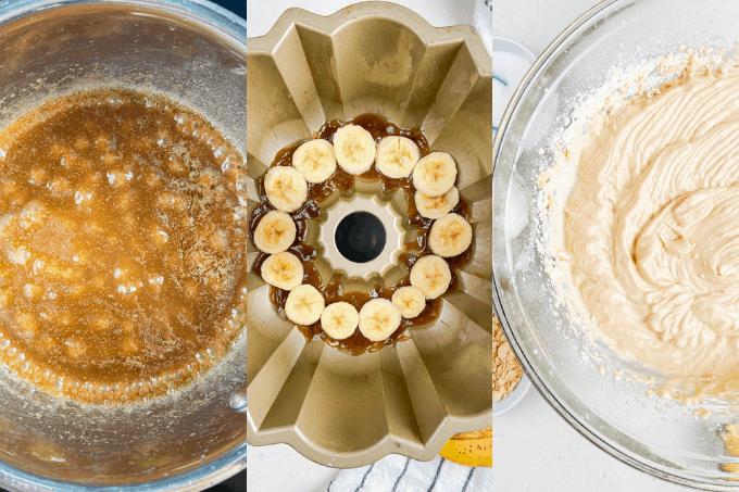 Process Steps for Peanut Butter Upside Down Banana Cake
