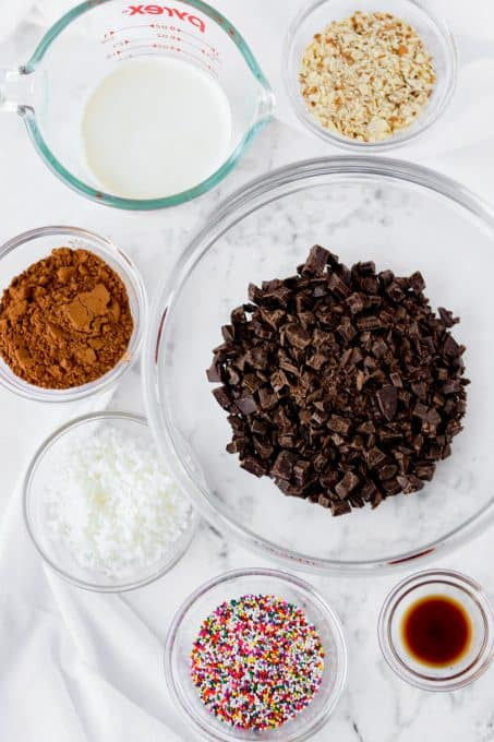 Ingredients for truffles made with chocolate.