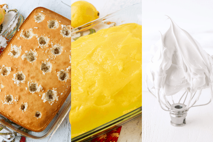 Process of making a lemon poke cake with frosting.