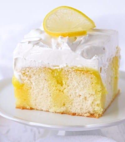 Lemon Marshmallow Poke Cake.