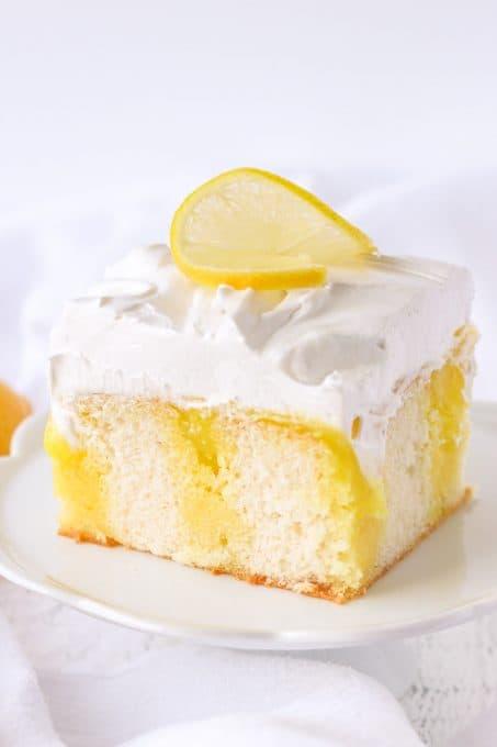 Lemon Marshmallow Poke Cake