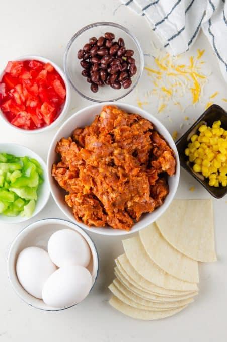 Make ahead breakfast casserole ingredients.
