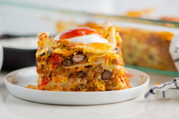 Breakfast Casserole with tortillas, eggs, cheese, and chorizo.