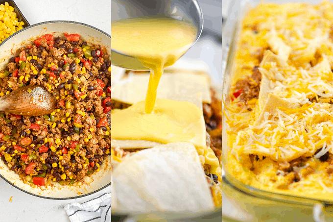 Process pics of a Mexican Breakfast Casserole.