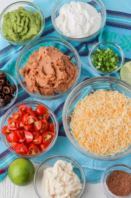 Ingredients for 7-Layer Dip.