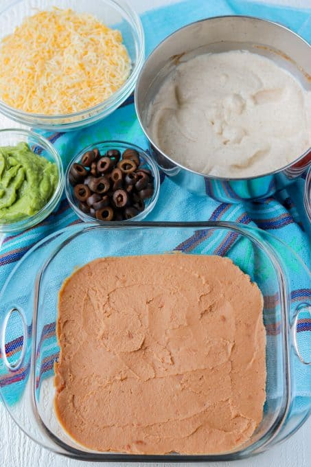 Refried beans for dip.