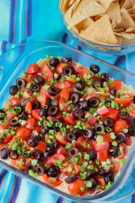 this dip with 7 layers is a great and easy appetizer.