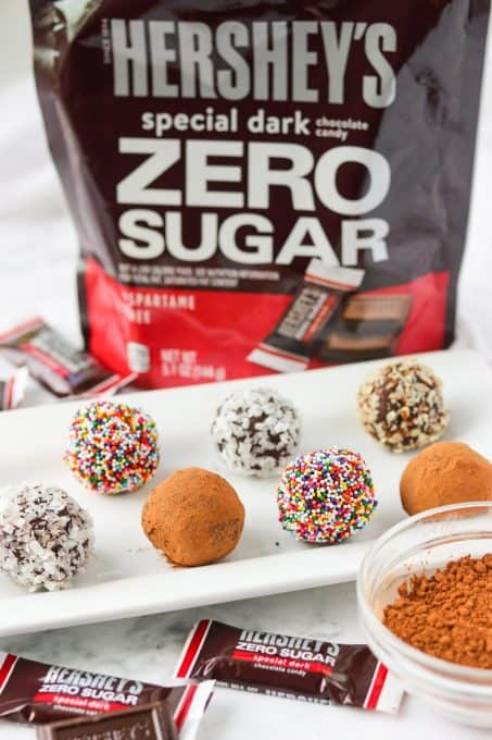 Dark Chocolate Truffles made with HERSHEY'S Zero Sugar Special Dark Chocolate Candy.