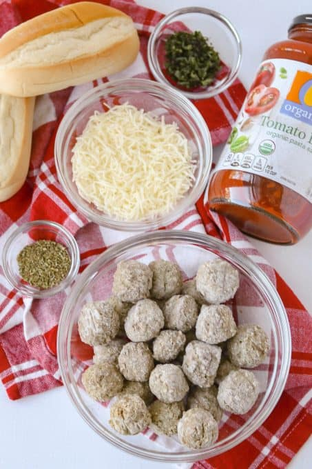 Ingredients for easy meatball sandwiches.