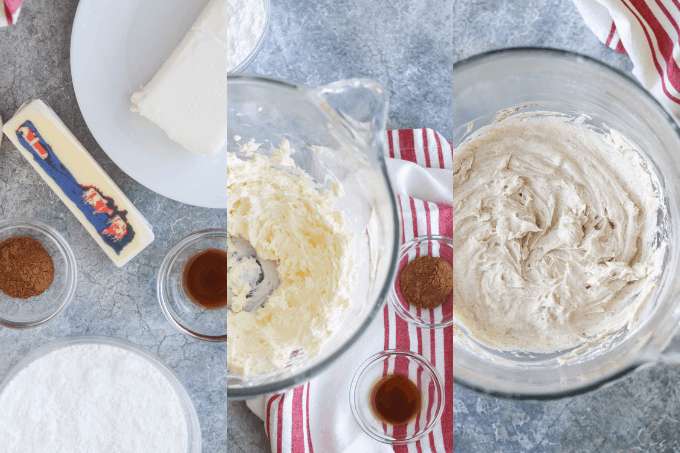 Process shots for Pumpkin Spice Cream Cheese Frosting.