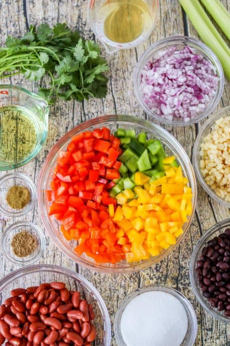 Ingredients for Texas Caviar.
