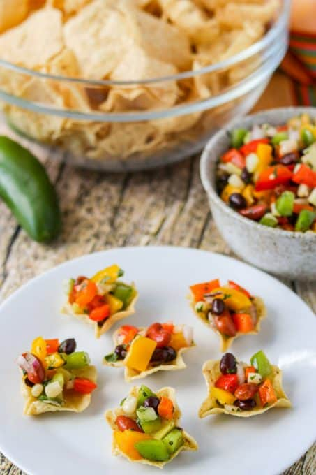 Tortilla scoops filled with an easy and delicious appetizer.